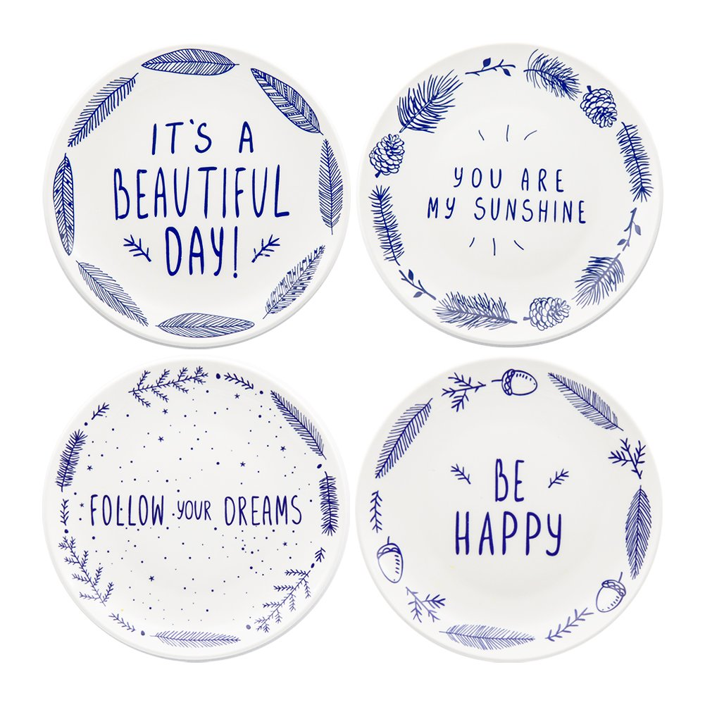Begonia Home 8'' Blue Ceramic Dessert Salad Plates with Sayings (Set of 4) Dishwasher and Microwave Safe, Best Gift, Multicolor
