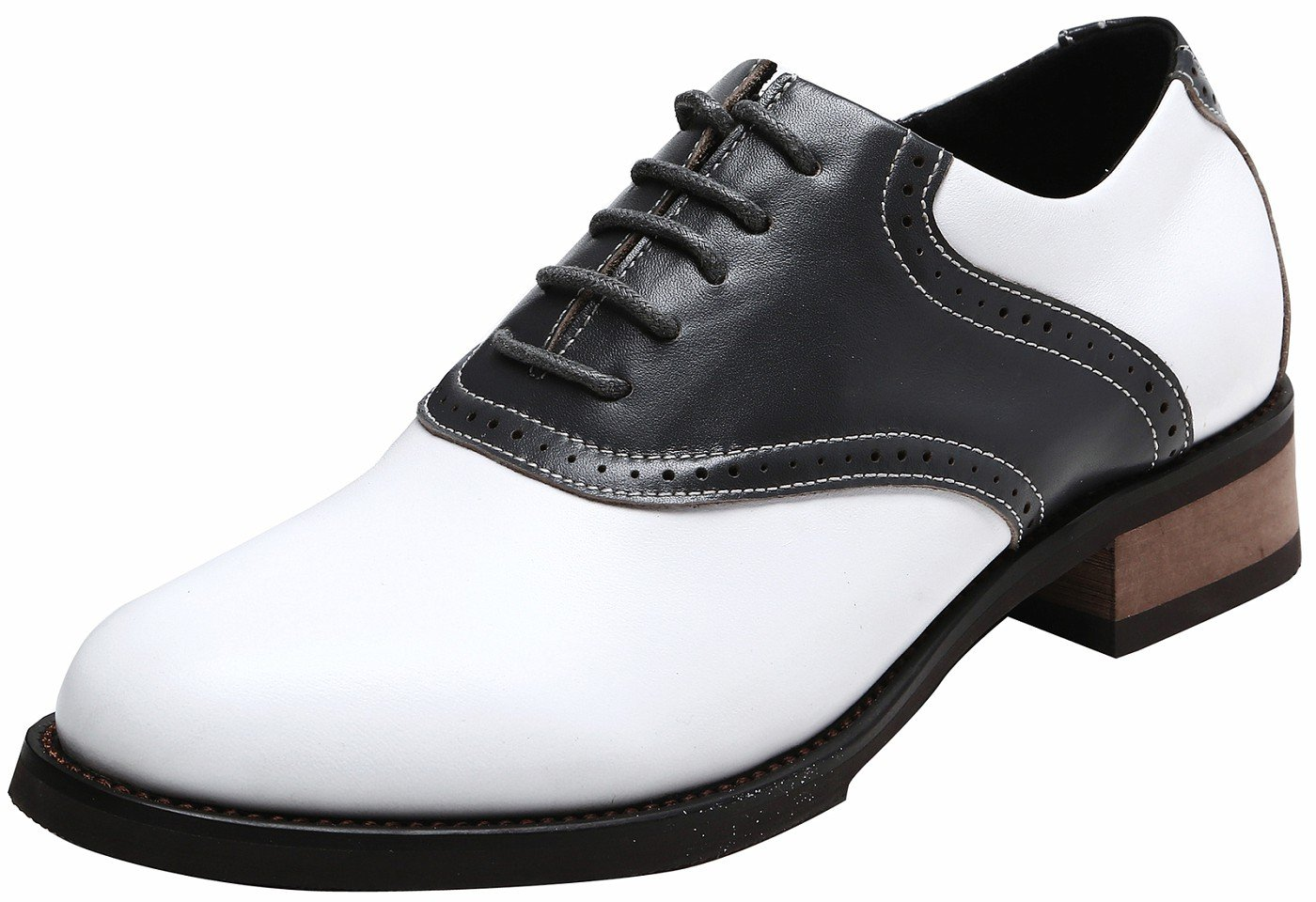 U-lite Women's Classic Retro Saddle Shoes,Lady's Round-Toe Leather Sadie Oxford Grey8