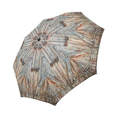 Funny Rustic Old Barn Wood Wooden Garage Door Compact Umbrella Automatic Folding Travel Windproof Rainproof Umbrella