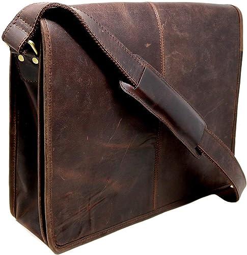 15 buffalo leather messenger bag laptop case office briefcase gift
