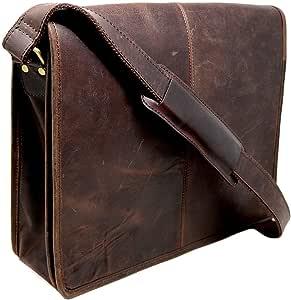 """15"""" Buffalo Leather Messenger Bag Laptop case Office Briefcase Men Computer Distressed Shoulder Bag"""