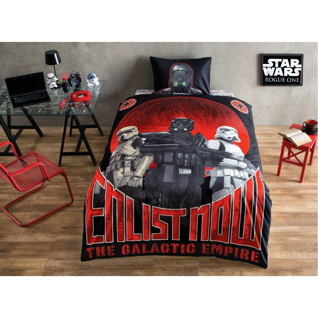 COMFORTER SET Starwars Movie Glow by Night Enlist Now Kid's Single / Twin Size Comforter Cover Set+++White Microfiber Comforter(Look 2.Image)Kids Bedding 4 Pcs