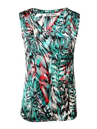 2d19ca79415b8 Kasper Womens Petites Satin Printed Blouse at Amazon Women s Clothing store