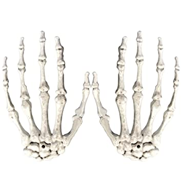 1 Pair Plastic Scary Halloween Skeleton Hands Life Size Hands for ...