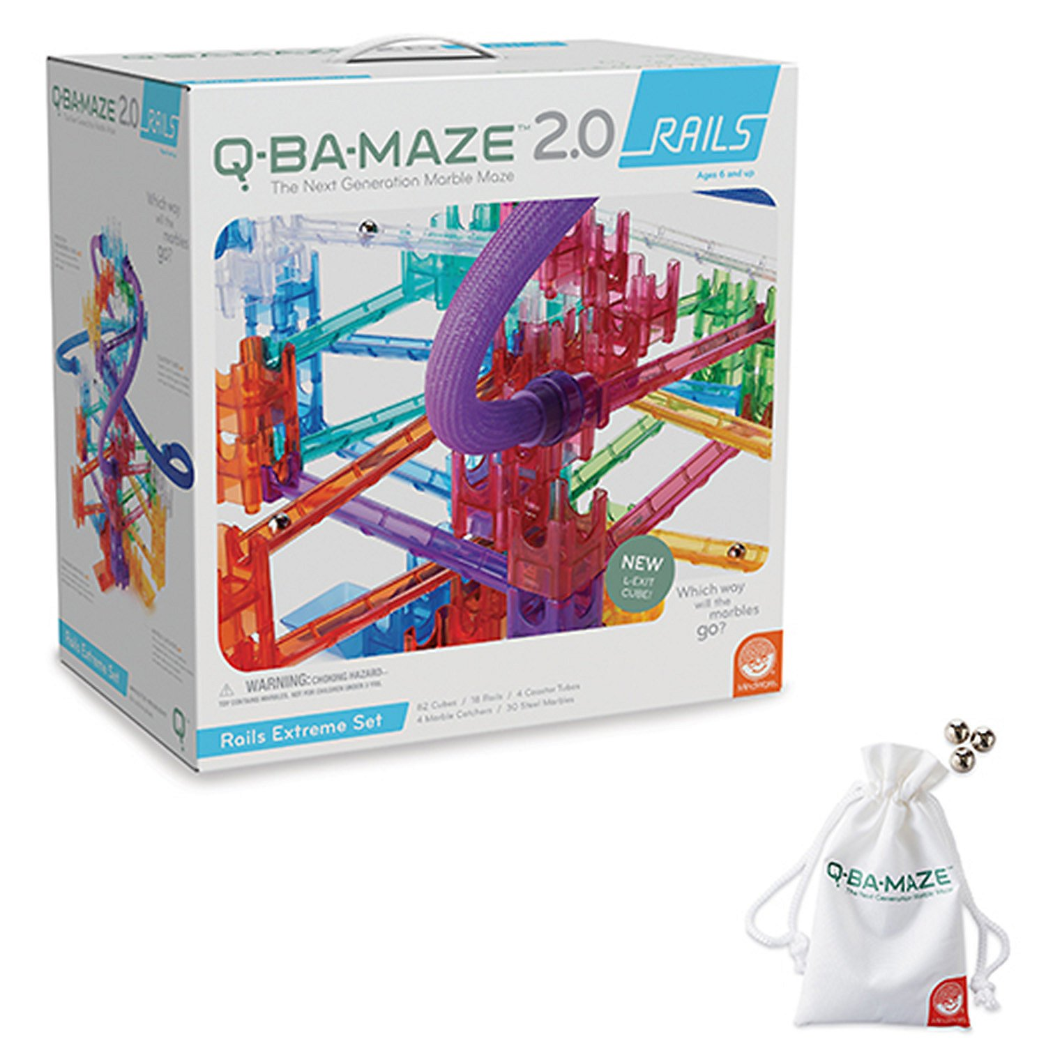 Q-BA-MAZE 2.0: RAILS EXTREME WITH FREE MARBLES AND STORAGE BAG