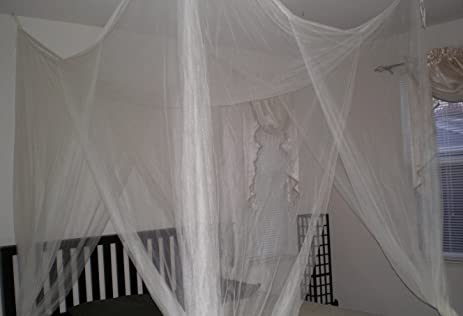 Cream 4 Corner / Poster Bed Canopy Functional Mosquito Net  Cream & Amazon.com: Cream 4 Corner / Poster Bed Canopy Functional Mosquito ...