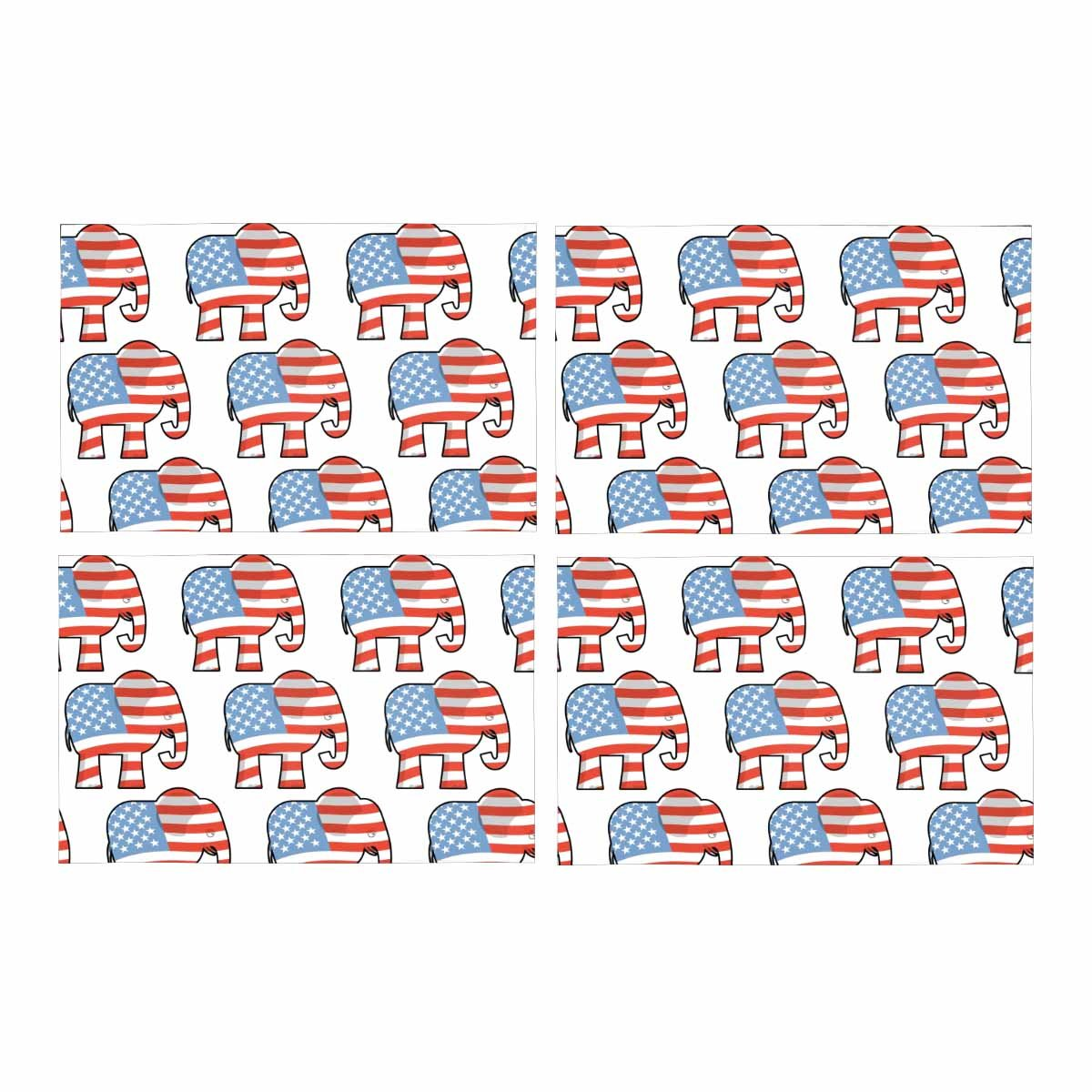 InterestPrint Republican Elephant Symbol of Political Party in America Placemat Place Mat Set of 4, Table Place Mats for Kitchen Dining Table Restaurant Home Decor 12''x18''