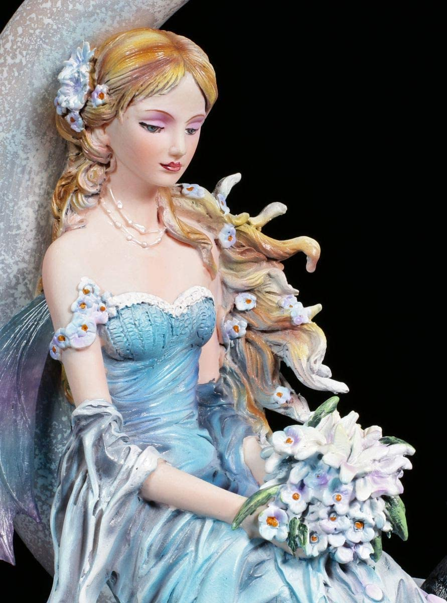 Noir Chat Nene Thomas Elfes Figurine en Merveilleux Motif Bleu Robe avec Bouquet dans le Hand Vent Lune Fantasy-Figur