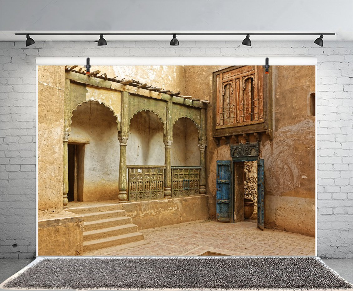 LFEEY 7x5ft Morocco Abandoned Town Backdrop Old Ancient Deserted City Ruin Architecture Building Grunge Stone Wall Photography Background Travel Photo Studio Props by LFEEY (Image #4)