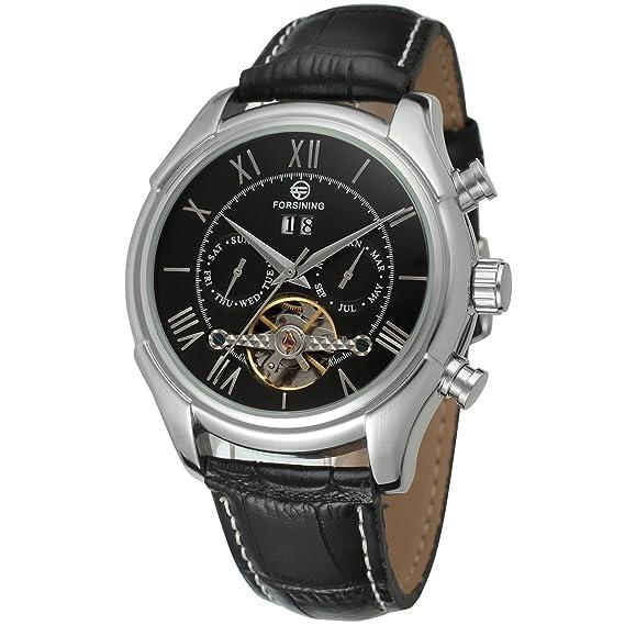 Forsining Hombres de Pulsera día Calendario Negocios automático para Hombre Marca Correa de Piel Reloj de Pulsera fsg583 m3s1: Amazon.es: Relojes