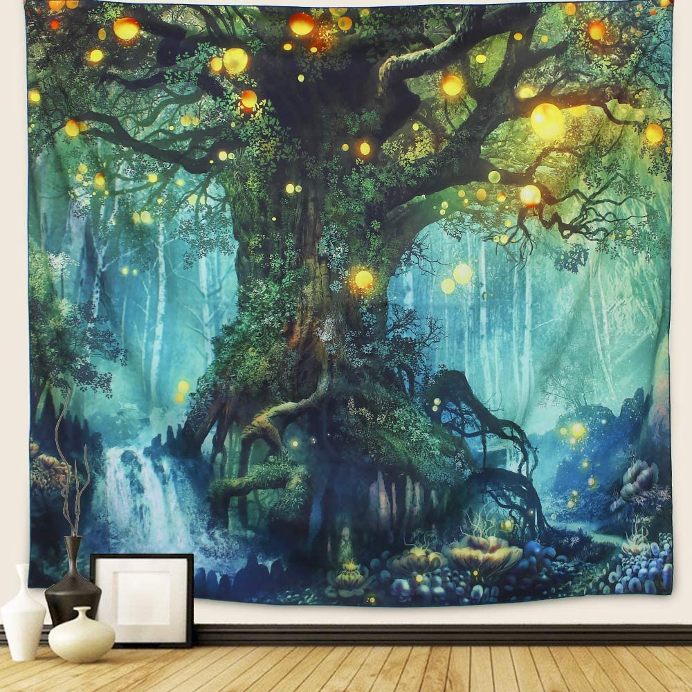 Arfbear Forest Tapestry, Nature Tree Popular Elves Wall Hanging Tapestry Warm Green Beach Blanket (Large-79x 59 in)