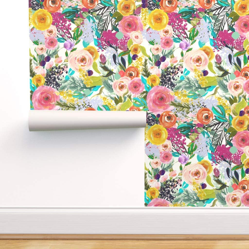 Spoonflower Peel And Stick Removable Wallpaper Big Floral Pink Yellow Mod Bright Bold Colorful Large Scale Summer Reupholstery Print Self Adhesive Wallpaper 24in X 36in Roll Amazon Com
