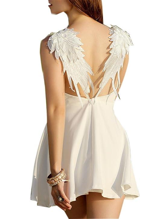 Amazon.com: Eloise Isabel Fashion party dress moda apliques de renda runway dress backless deslize little black dress verão roupas femininas: Clothing