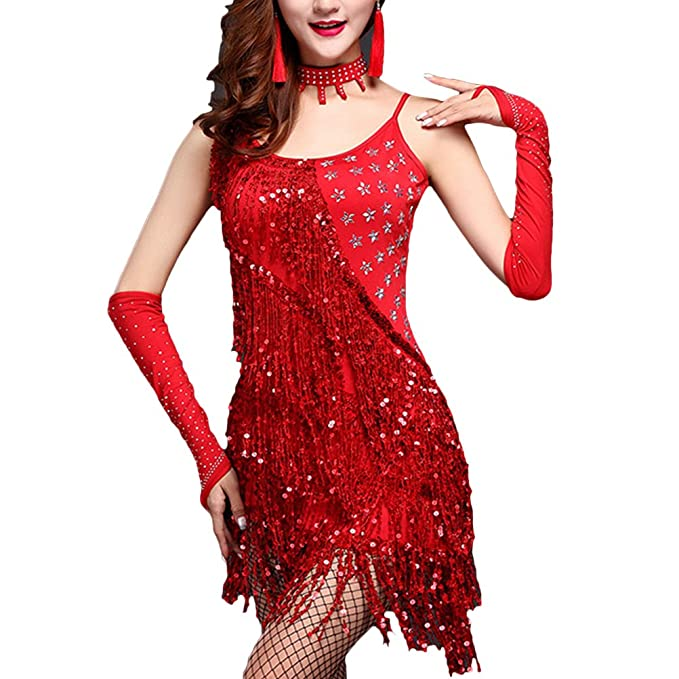 Zhuhaitf Ladies latín Salsa Tassel Dancing Costume Performance Dance Dress XX-013