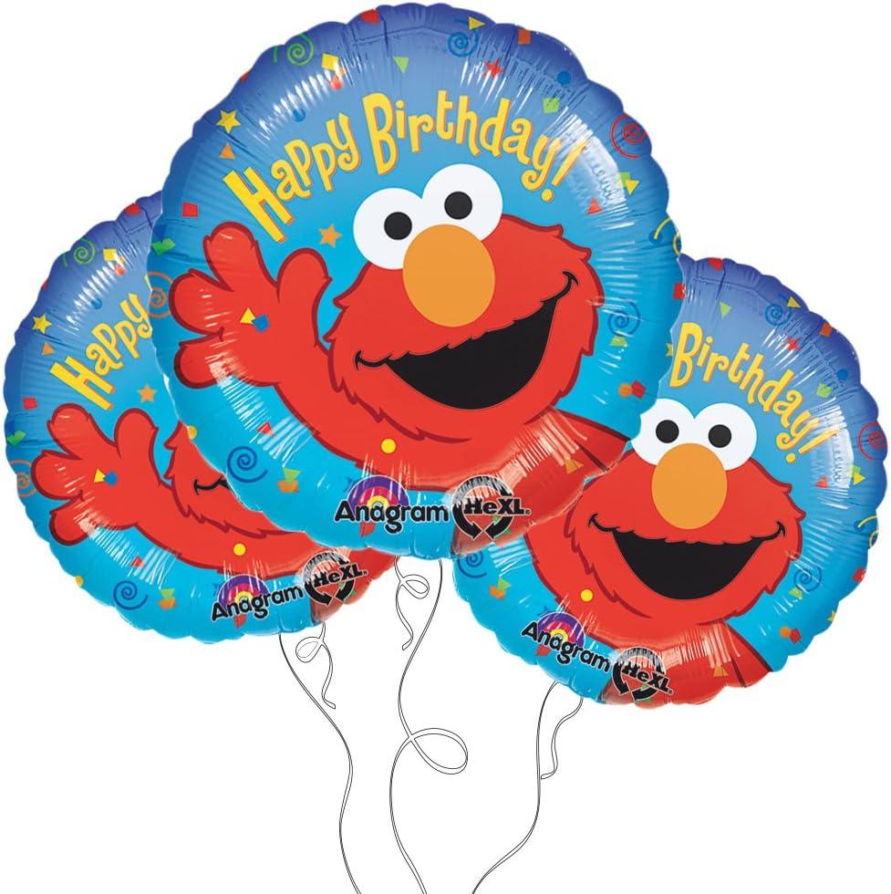 Elmo Happy Birthday 18 Mylar Balloon 3pk