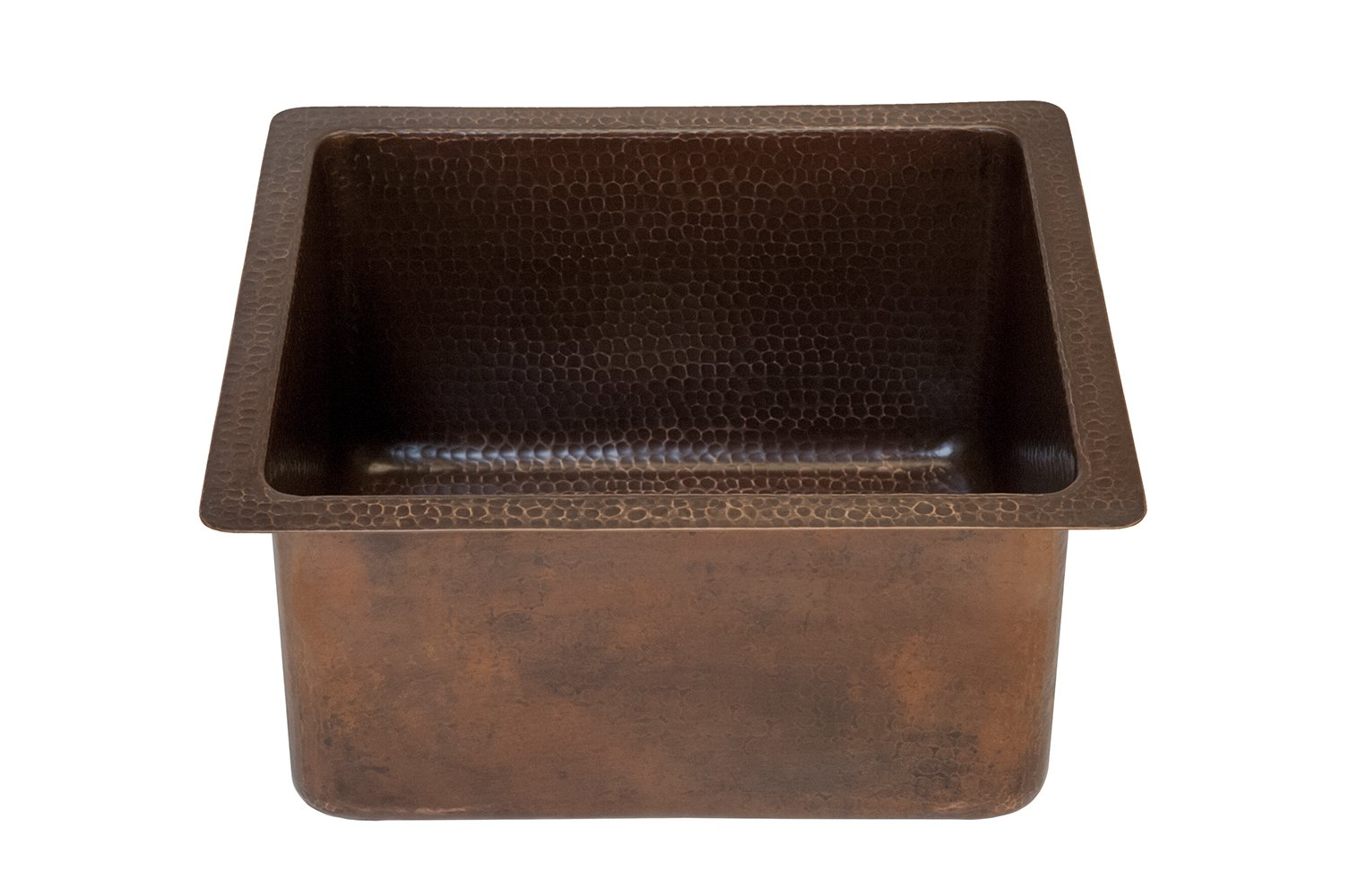 Premier Copper Products BREC16DB 16-Inch Universal Gourmet Rectangular Hammered Copper Kitchen Bar Single Basin Sink, Oil Rubbed Bronze