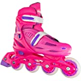 Crazy Skates Adjustable Inline Skates for Girls - Adjusts to fit 4 Shoe Sizes - Available in Three Colors (Model 148)