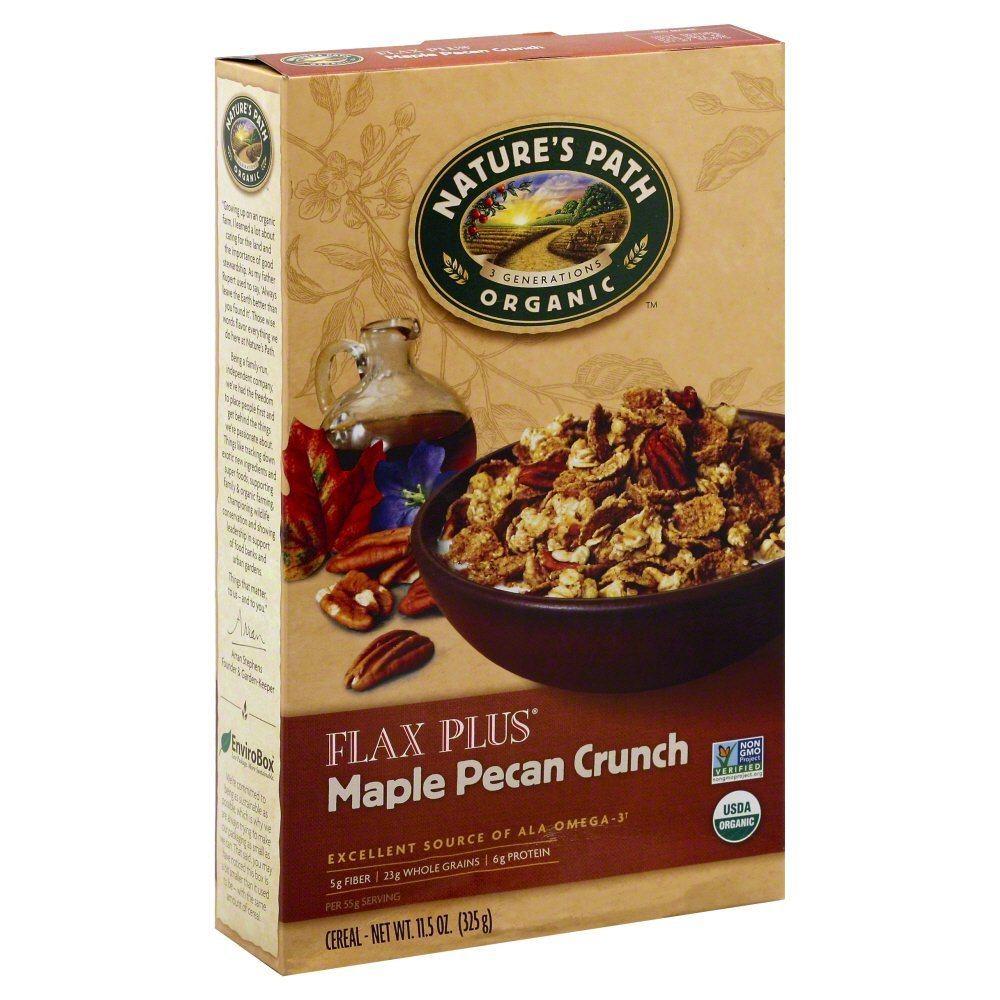 Nature s Path Organic Flax Plus Cereal, Maple Pecan Crunch, 11.5 oz, (pack of 3)