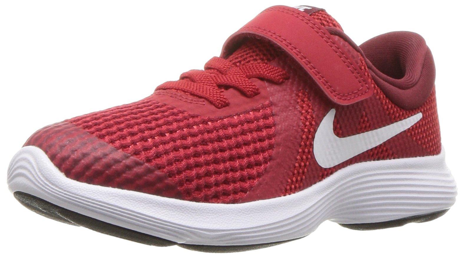 Nike Boys' Revolution 4 (PSV) Running Shoe, Gym White-Team red-Black, 11.5C Regular US Little Kid