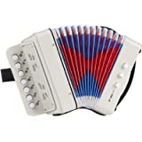Kids 10 Key Accordion Instrument, Mini Musical Toy Accordion with 3 Air Valves, Hand Strap, Small Button, Musical…