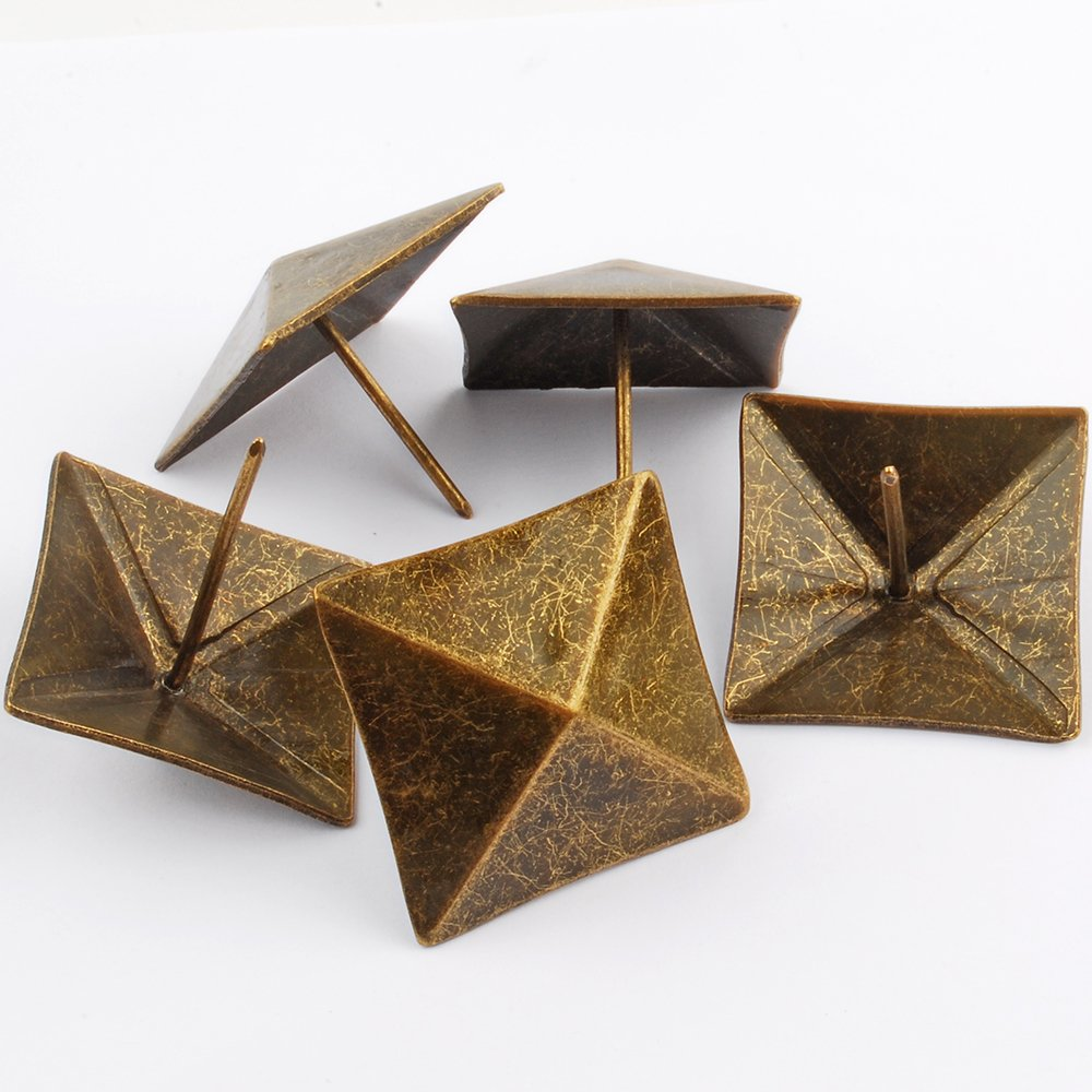 NW 10pcs Square Bronze Nail Bronze Upholstery Tacks Antique Brass Furniture Nails Pins (40x40mm)