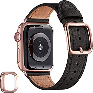 MNBVCXZ Compatible with Apple Watch Band 38mm 40mm 42mm 44mm Women Men Girls Boys Genuine Leather Replacement Strap for iWatch Series 6 5 4 3 2 1 iWatch SE (Black/Rose gold, 38mm 40mm)