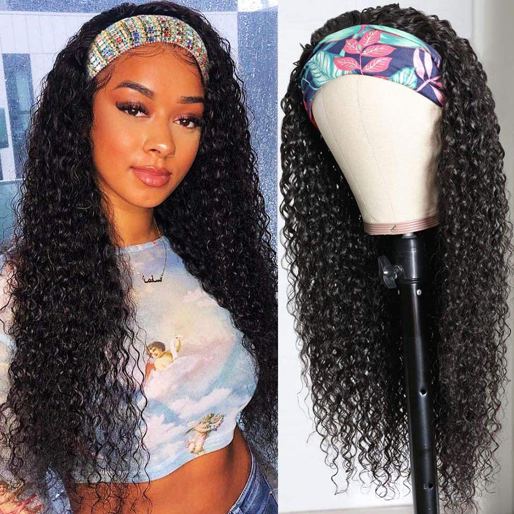 Water Wave Headband Wig Human Hair Wigs for None 2021 autumn and winter Memphis Mall new Front Lace