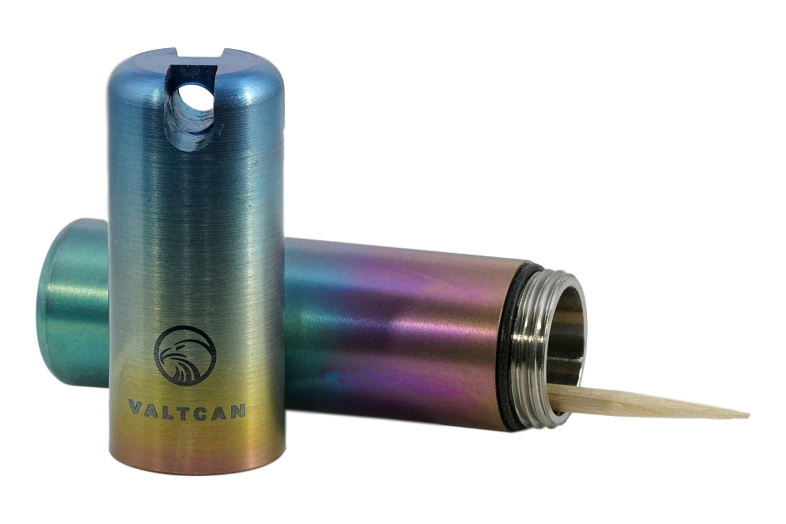 Valtcan TOOTHPICK HOLDER Titanium Pill Canister Keychain Rainbow by Valtcan