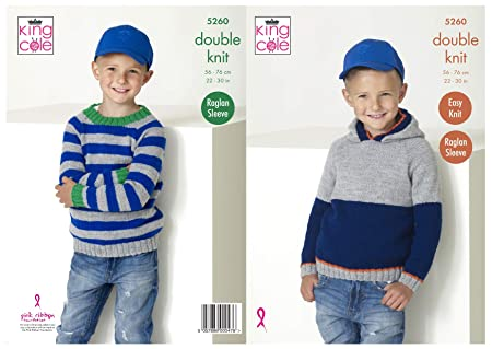 290e3d038 Image Unavailable. Image not available for. Colour  King Cole 5260 Knitting  Pattern Boys Raglan Hoodie and Sweater in Big Value DK