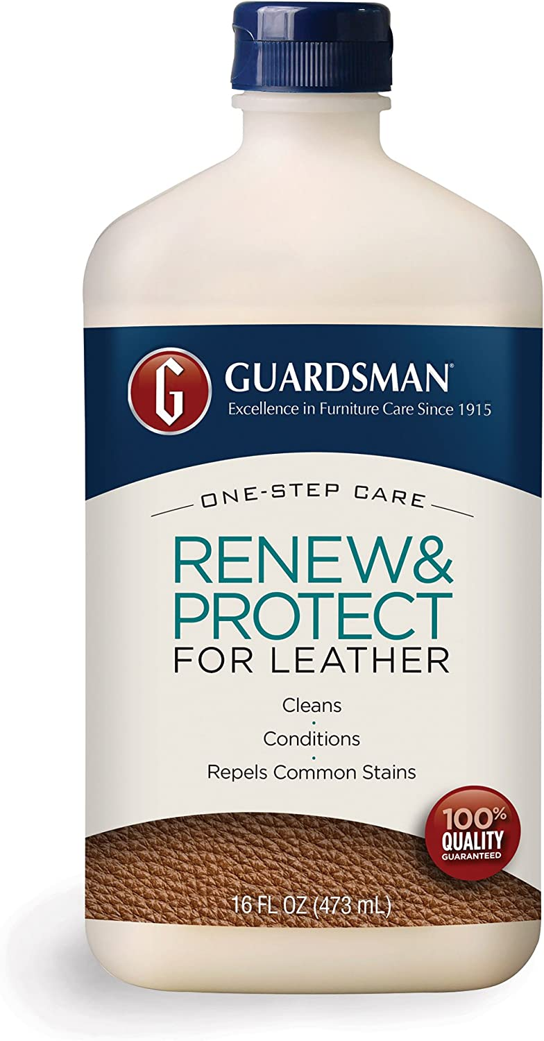 Guardsman Renew & Protect for Leather 16 oz - Cleans, Conditions & Protects in One Step - Great for Leather Furniture & Car Interiors - 471300
