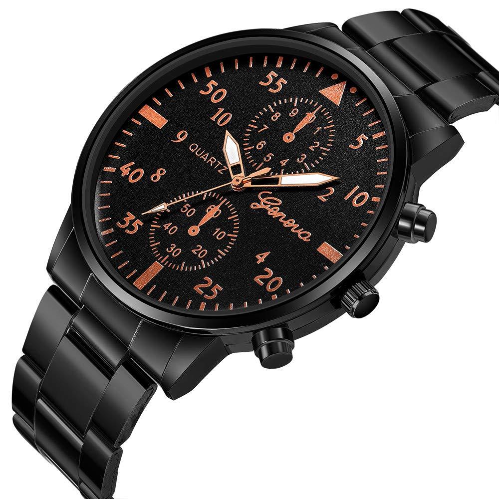Naturazy-reloje 688 Geneva,Reloj De Acero Inoxidable Negro CláSico De Lujo Calendario De Moda CláSico DiseñAdor AnalóGico Cuarzo Fecha De Negocios: ...