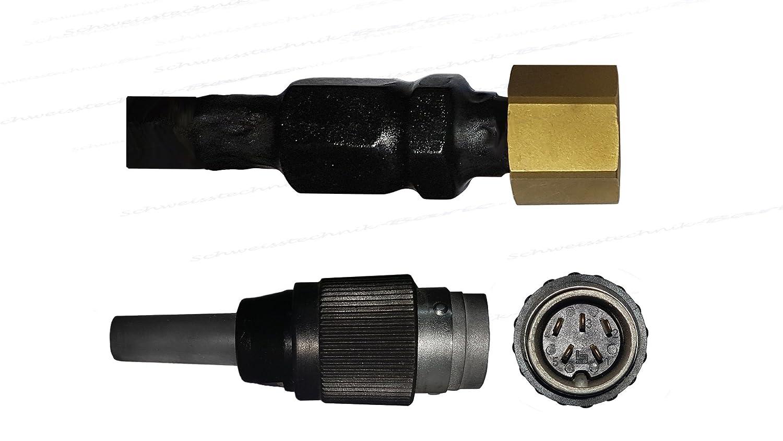 4 Meter,9mm Dorn /& 1//4 Gasanschluss passend zu den meisten Herstellern wie/ Trafimet SR-17F Schlauchpaket mit Flexiblem Brennerhals Ewm u.v.m Lorch 5 Poligem Tuchel Stecker