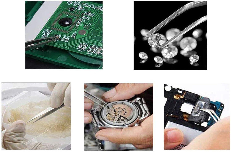 bricolage /électronique t/él/éphone portable travaux de laboratoire Lot de 9 pinces /à /épiler ESD en acier inoxydable antistatique pour montre /électronique bijoux