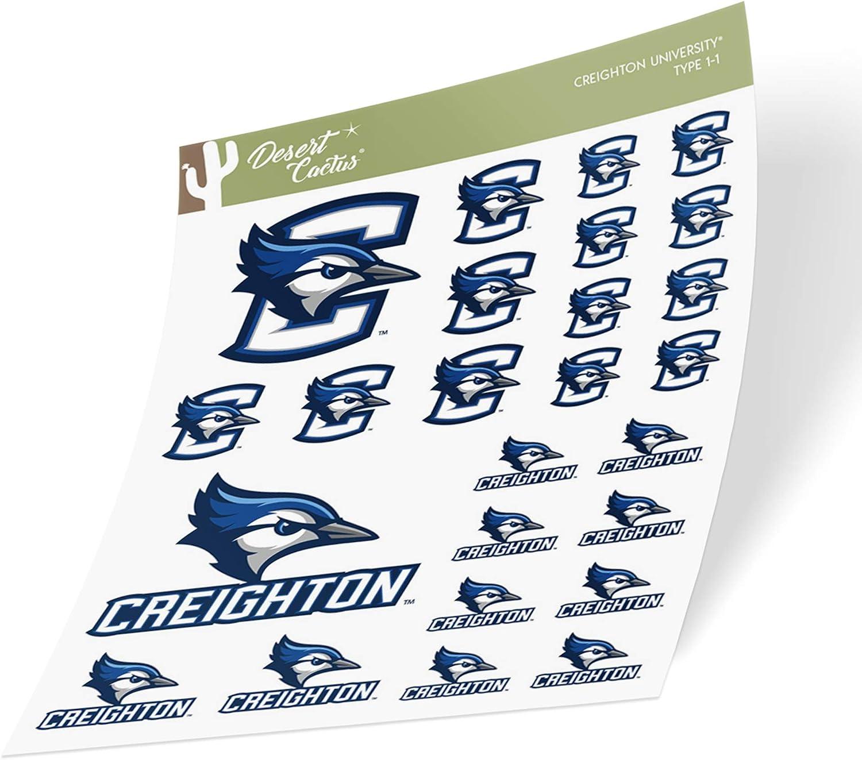 Creighton University CU Bluejays NCAA Sticker Vinyl Decal Laptop Water Bottle Car Scrapbook (Type 1 Sheet)