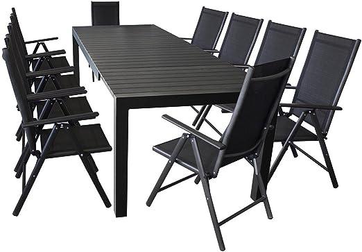 XXL jardín Terraza-Muebles de Jardín muebles Set sillas para-Aluminio/polywood-Mesa extensible 224/284/344x 100cm, para hasta 12personas + 10x Respaldo Alto Con 2x 2Cordaje de calidad, 7posiciones, plegable: Amazon.es: Jardín