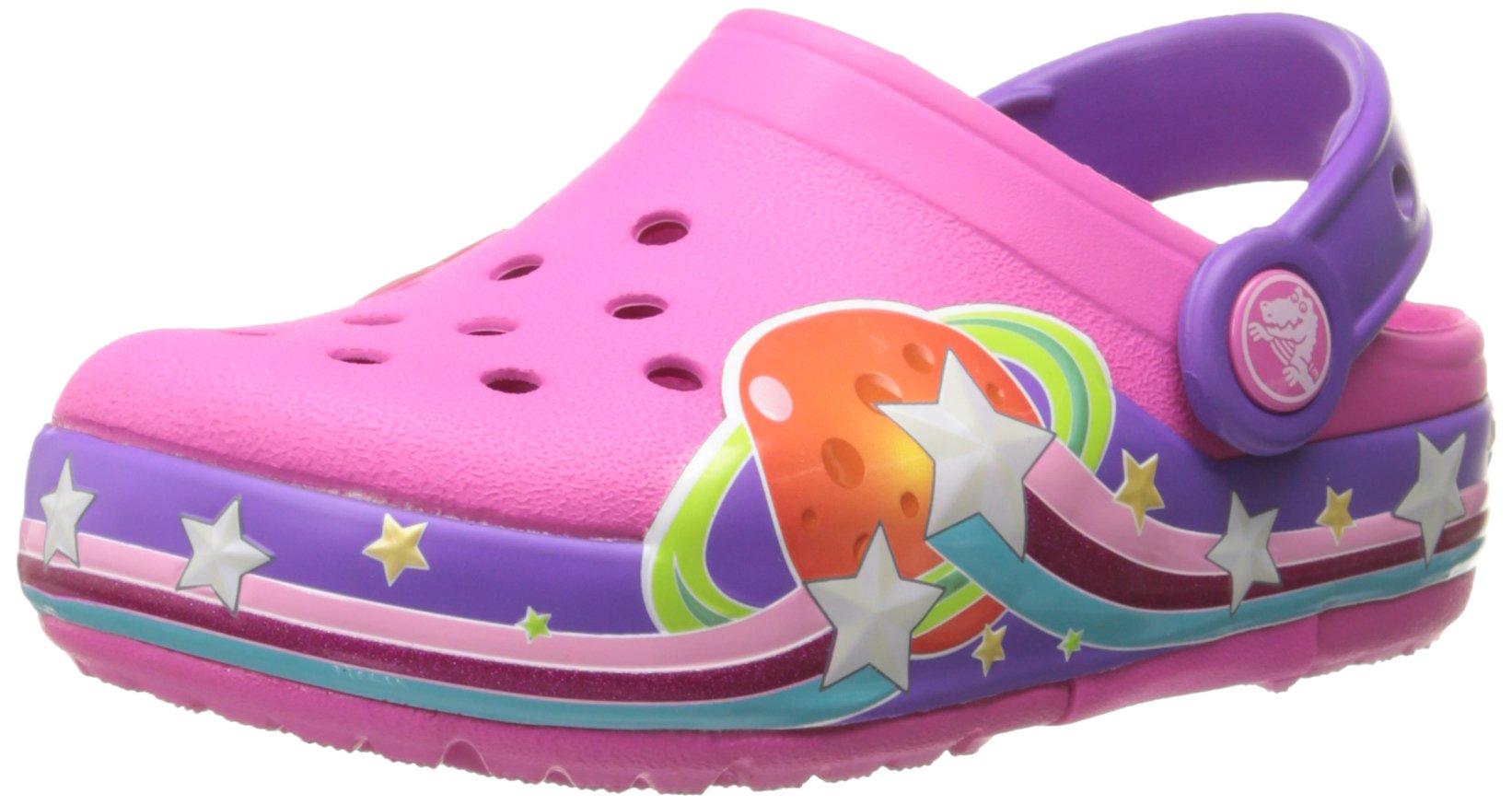 crocs Girls Galactic Light-Up Clog (Toddler/Little Kid), Neon Magenta, 12 M US Little Kid