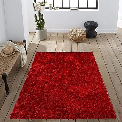 Cloth Fusion Premuim Shaggy Carpet for Living Room 3 Feet x 5 Feet (Red)