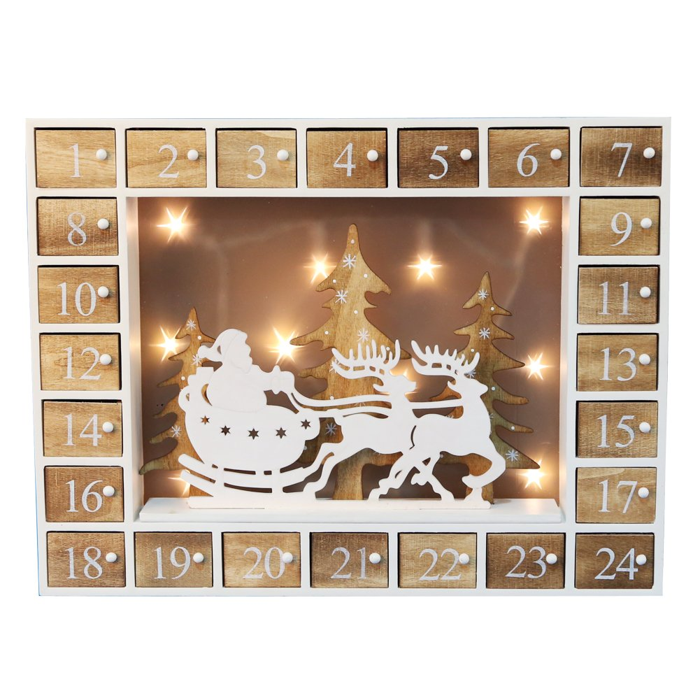 Pioneer-Effort Christmas Wooden Advent Calendar with 24 Drawers and LED Lights Shanghai Pioneer Effort Arts&Crafts Co. Ltd