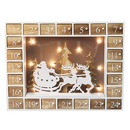 Wooden Christmas Advent Calendar with LED Lights and Santa on his sleigh in the middle
