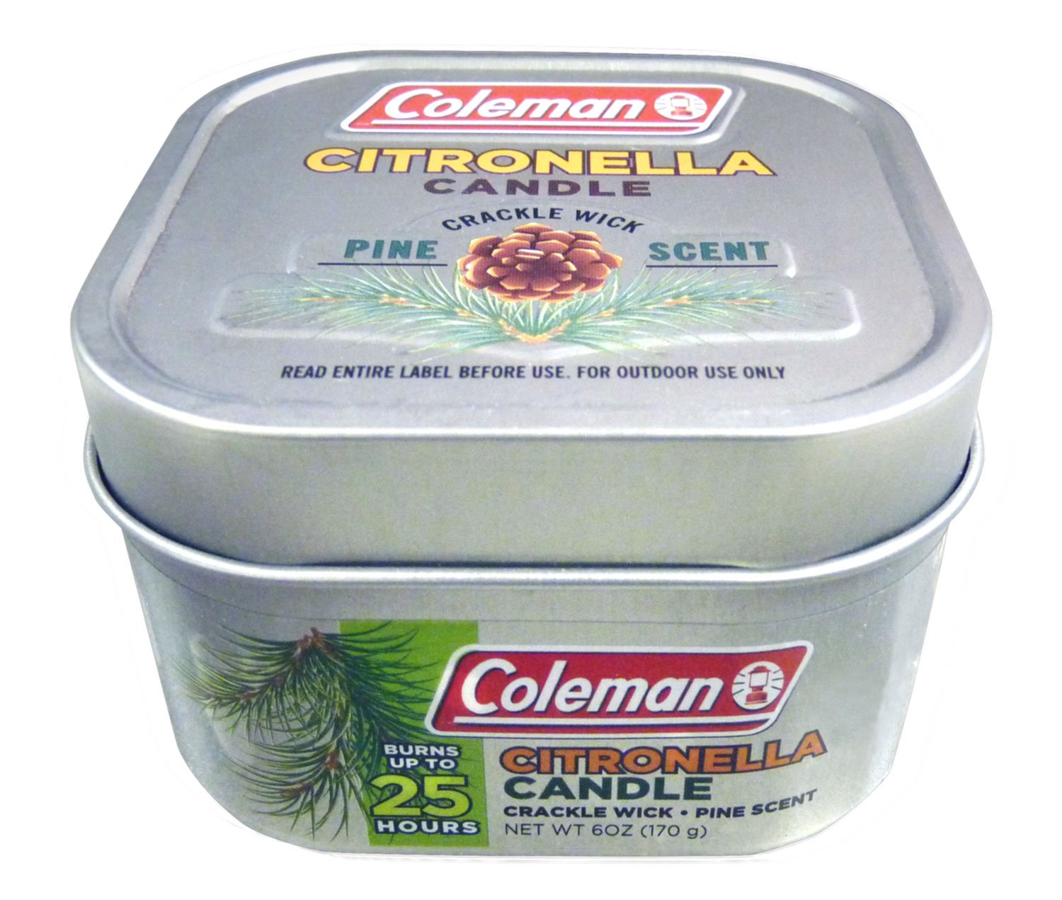 Coleman Scented Citronella Candle, Pine Scent with Wooden Crackle Wick