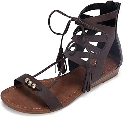 Women Gladiator Sandals Leather Flat Flip Flops Sandals Lace up Buckle Slingback Shoes Casual Summer Outdoor Beach Shoes for Women /& Girls