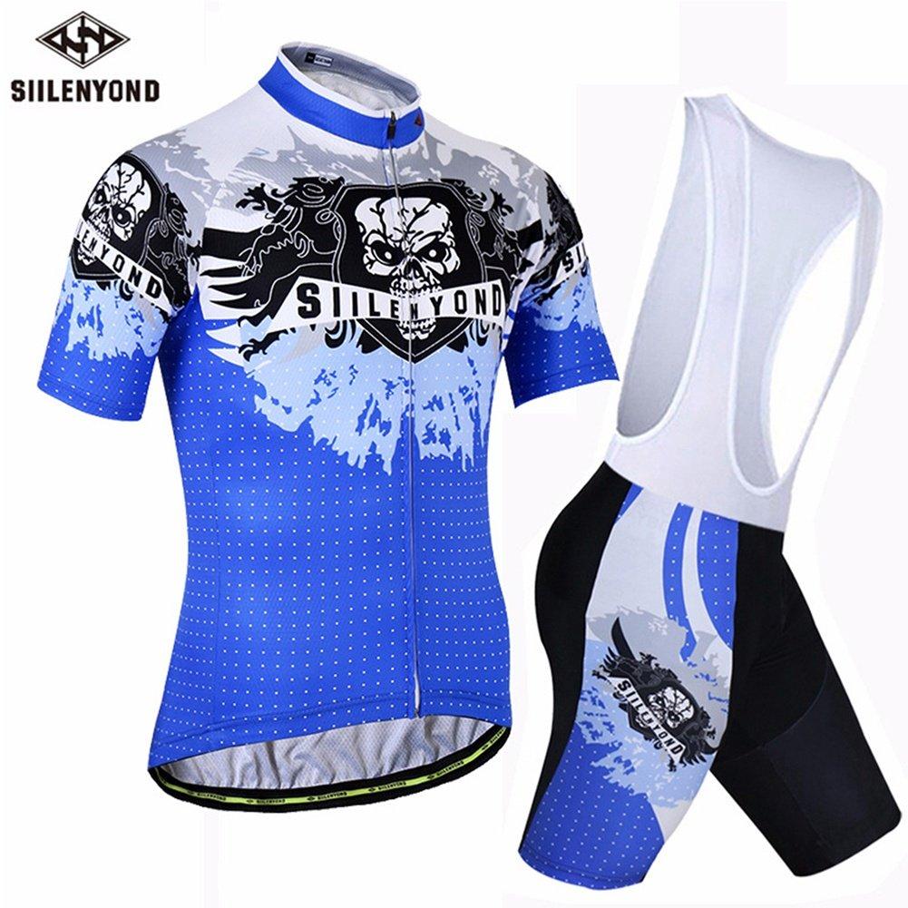 LBY Herren Kurzarm-Radtrikot mit Bib Shorts - atmungsaktiv verschwitzt Wear Waterproof 3D Bike Kissen gepolsterte Shorts Unisex