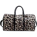 Leopard Print Travel Bag Women Ladies Duffle Tote Bags Weekender Overnight Bag Luggage by QUARKERA