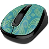 Microsoft Wireless Mobile Mouse 3500 Mint & Aqua Paisley