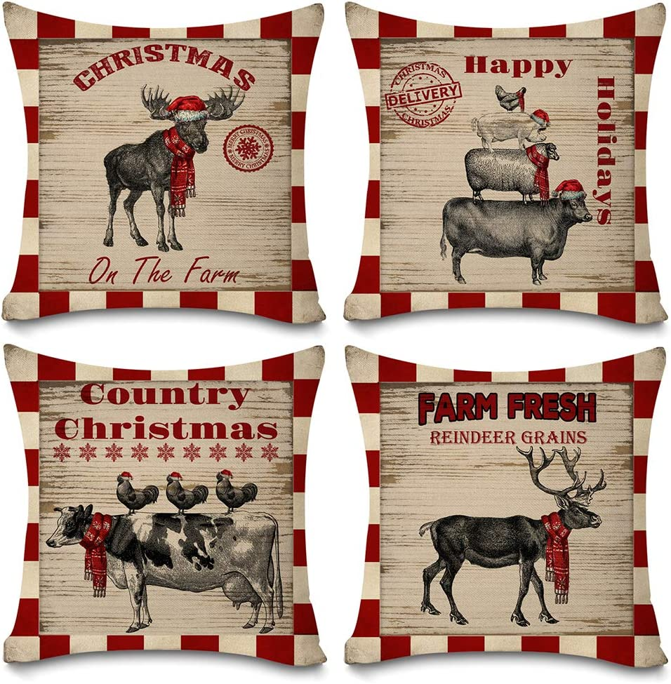 "KACOPOL Christmas Red Buffalo Plaids Farmhouse Animals Pillow Covers Deer Moose Pig Farm Decor Cotton Linen Throw Pillow Case Cushion Cover 18"" X 18"" Set of 4 Xmas Decorations (Farmhouse Red Plaids)"