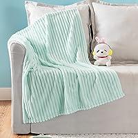 MIULEE Fleece Baby Blanket with Stripe Pattern for Boys, Girls, Kids, Infant, Newborn Fuzzy Flannel Soft Warm Baby Blue…