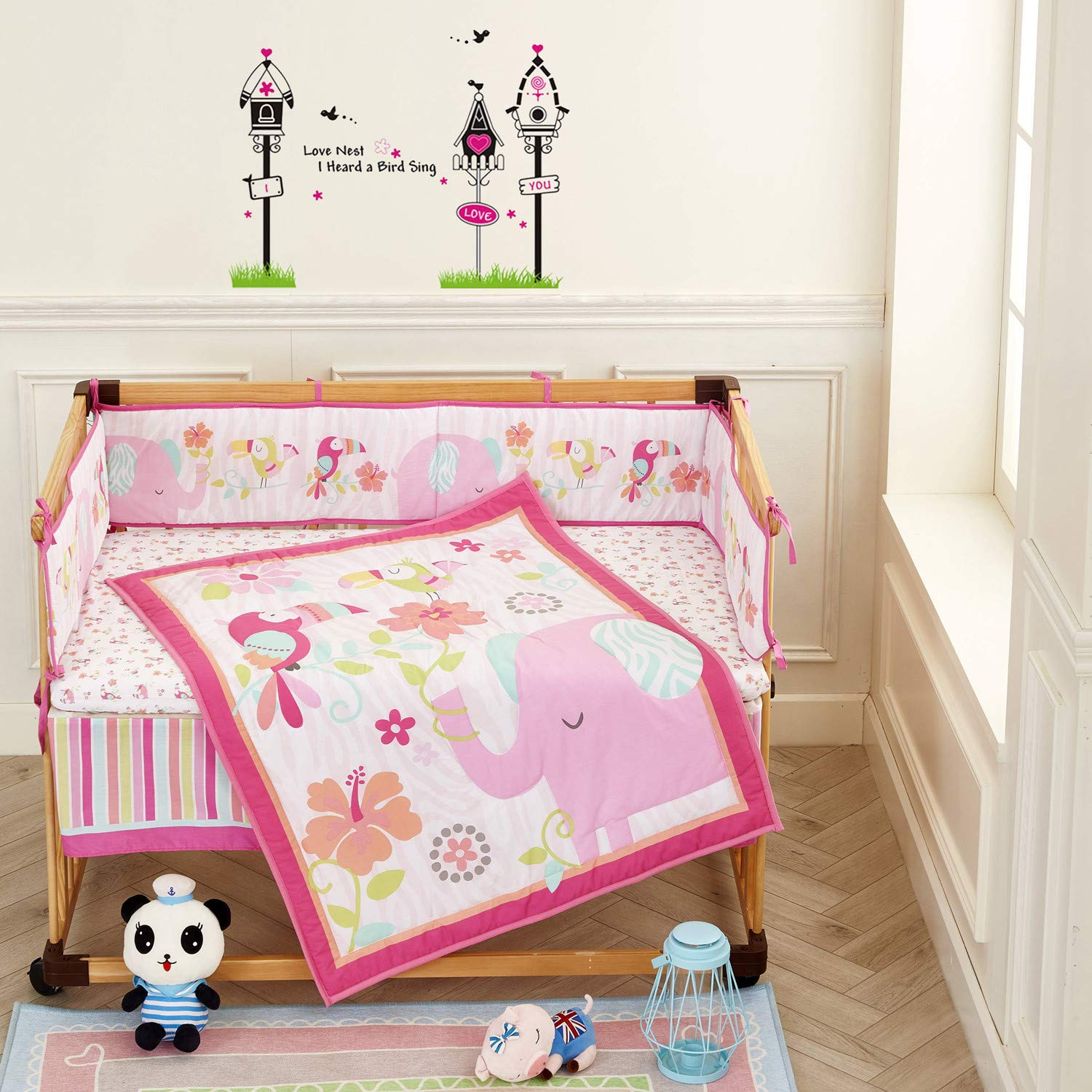 Wowelife Elephant Baby Bedding Sets for Girls 7 Piece Elephant Crib Set Cotton with Bumpers(Pink Elephant-7 Piece)