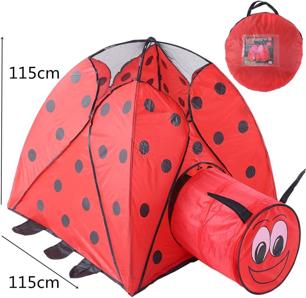 BAACHANG Casa de Juegos para niños Tiendas de campaña Túnel Interior Escarabajo Juego de Dibujos Animados Casa Plegable Al Aire Libre Juguete para bebés Bola Piscina Mosquito Net (Color : Red): Amazon.es: