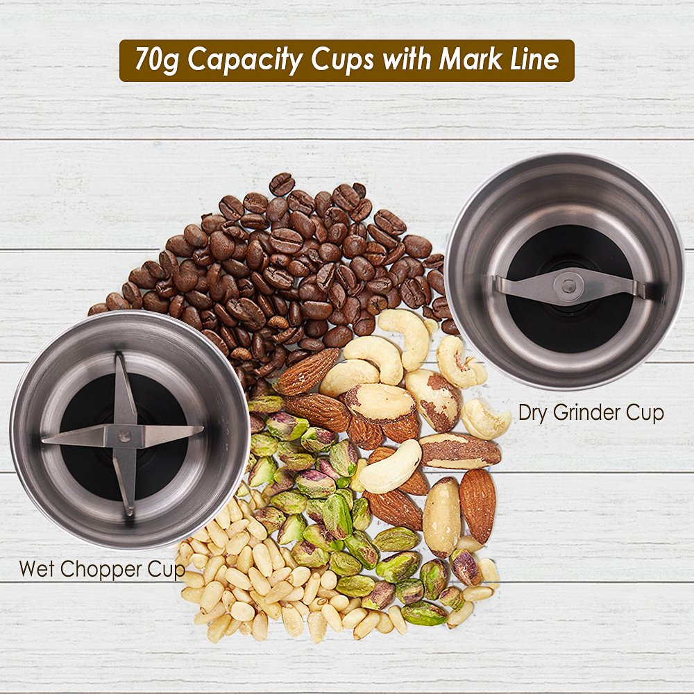 CHULUX Electric Spices and Coffee Grinder with 2.5 Ounce Two Detachable Cups for Wet/Dry Food,Powerful Stainless Steel Blades and Cleaning Brush by CHULUX (Image #2)