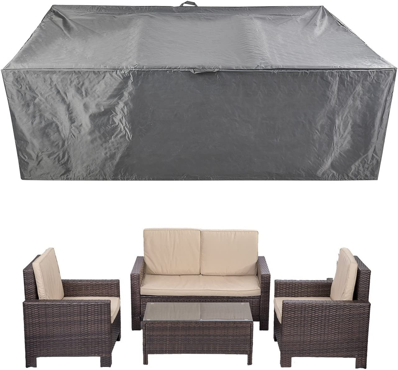 Coverking Club Outdoor Patio Rattan Furniture Cover Water Resistant Heavy Duty 88 Inches For 5 Pieces Sofa Set Amazon Co Uk Garden Outdoors